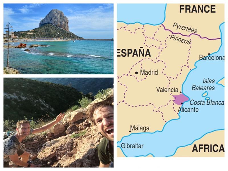 collage foto's van de rots bij Calpe en een landkaart van Spanje