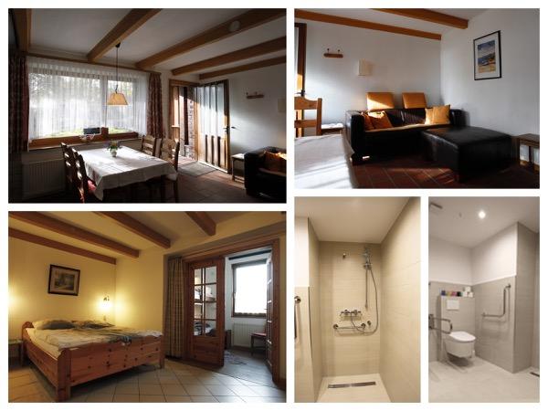 collage Inrichting bij Gasthaus Bartsch, met hoog-laag bed (aan één kant) en bidet op de toilet!