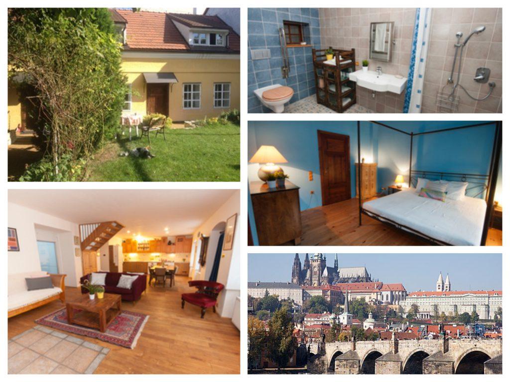 Collage van oude villa in de Praag
