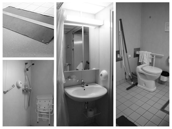 Collage badkamer Hurtigruten, Trollford. Hutnummer 619