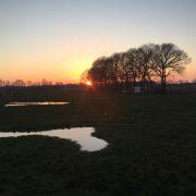 Kamelenboerderij, zonsondergang