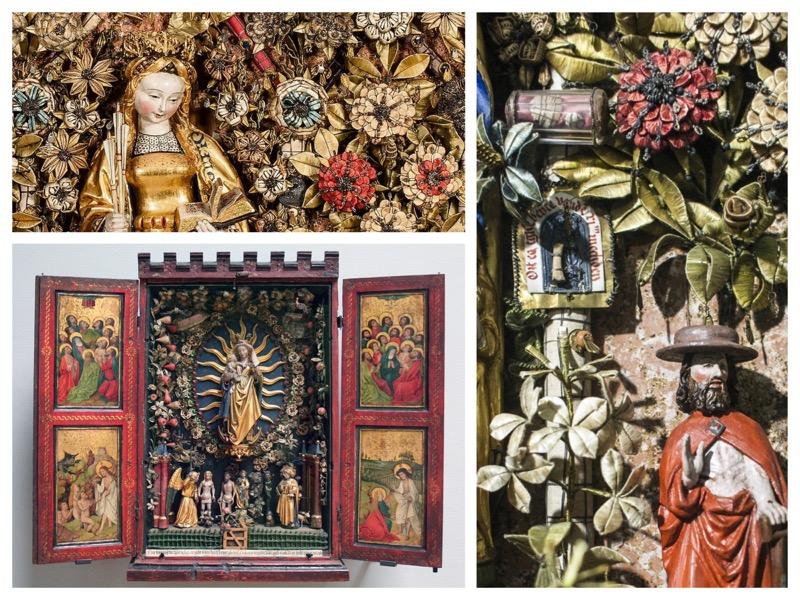 3 foto's van de hofjes, met details van handgemaakte bloemen en beeldjes
