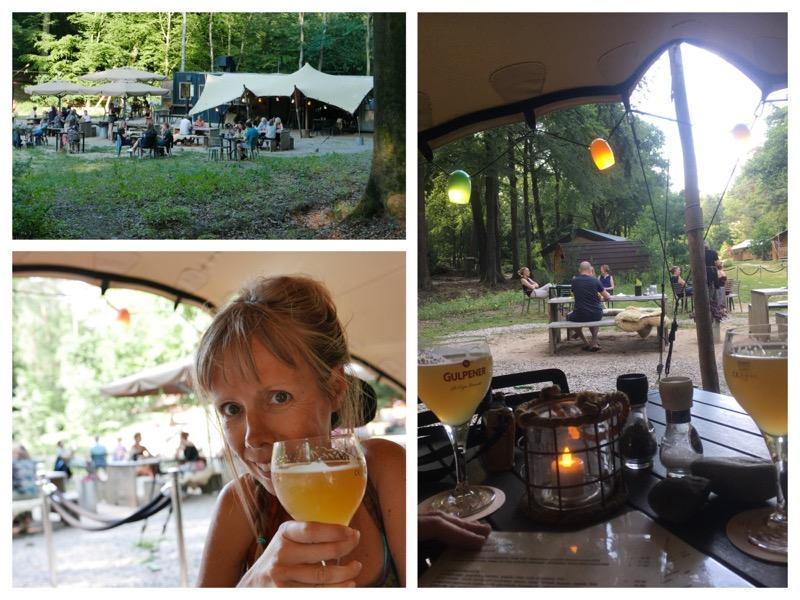collage van foto's van Eelke met een biertje en een overzicht van het terrein met tentveranda in de bossen