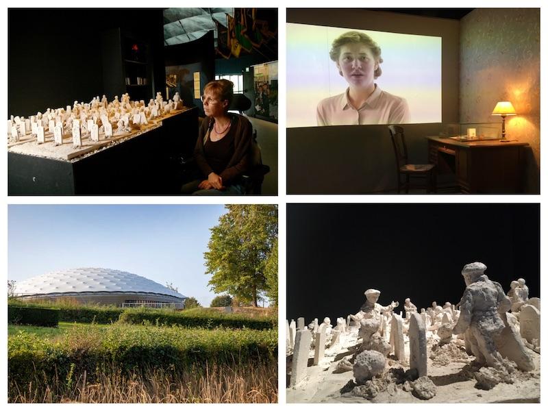 vier foto's vn het Vrijheidsmuseum, binnen (3x) en buiten