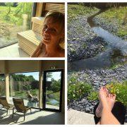 Collage van drie foto's, Eelke op de voorgrond in de panoramasauna, Eelke ligt in haar rolstoel in de tuin en eelke haar voeten met op de achtergrond een waterloopje