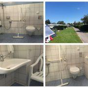 vier foto's van het rolstoeltoilet met beugels bij het toilet en een douchestoel aan de wand