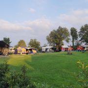 grasveld met aan de rand de safaritemt en andere kampeermiddelen