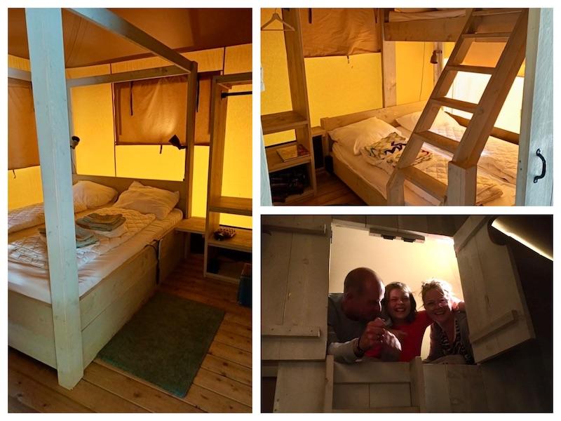 Collage van 3 foto van de slaapruimtes