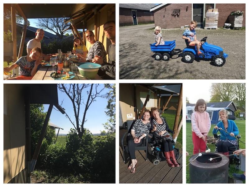 Collage van foto's van Eelke met haar familie op de camping