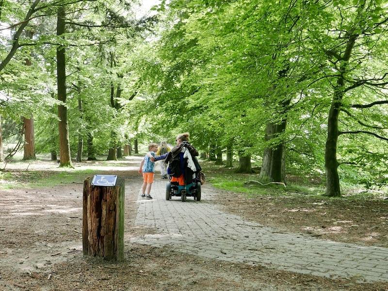 Eelke in haar elektrische rolstoel met haar neefje in het bos, hand in hand achterkant