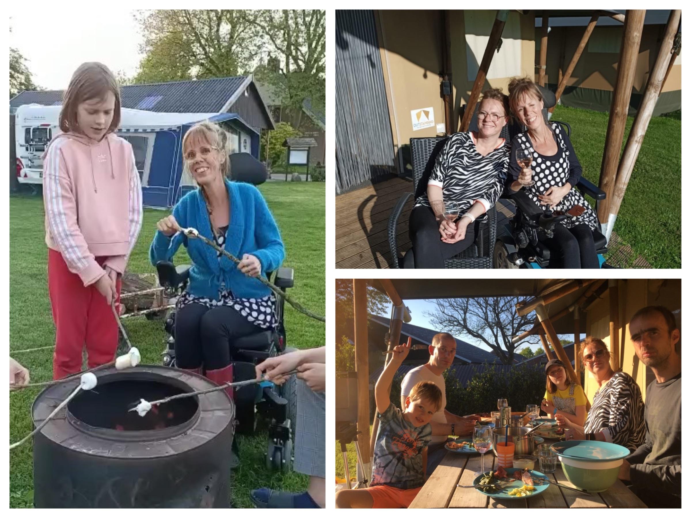Collage met 3 foto's, Eelke met haar zus onder de luifel met een glaasje wijn, Eelke bij een vuurton met haar nichtje klaar om marshmallows te roosteren, met de hele familie aan de picknicktafel onder de luifel